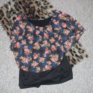 Plus Size 3X Double Floral Top
